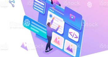 Isometric concept young people are engaged in web design, website page development. Concept for web design.